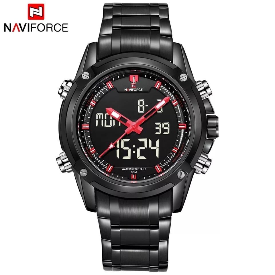 4784695bc08 relógio de pulso masculino naviforce aço inoxidável led 9050. Carregando  zoom.