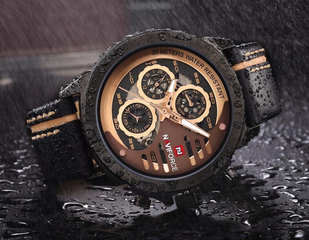 463dc88a765 relógio de pulso masculino naviforce couro dourado promoção. Carregando  zoom.