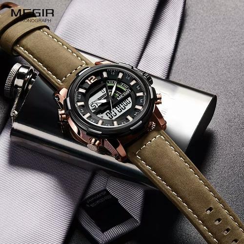 relogio de pulso masculino original megir pulseira couro