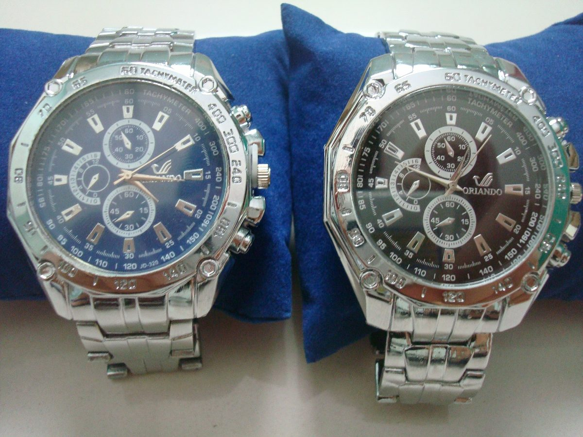 92353c3753496 relógio de pulso masculino prata com fundo azul ou preto. Carregando zoom.