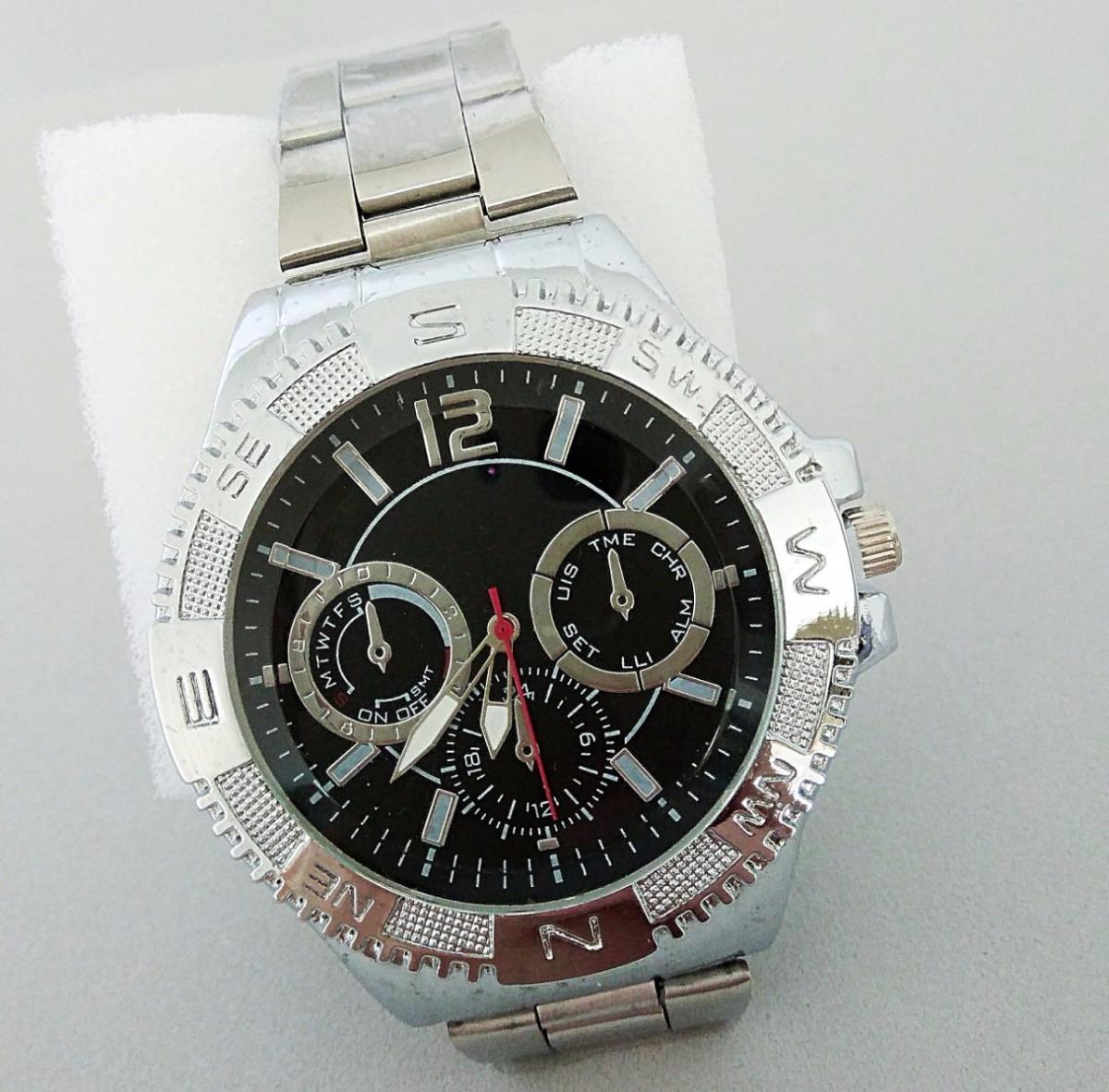 f36a8bcf71d relógio de pulso masculino prateado elite luxuoso promoção. Carregando zoom.