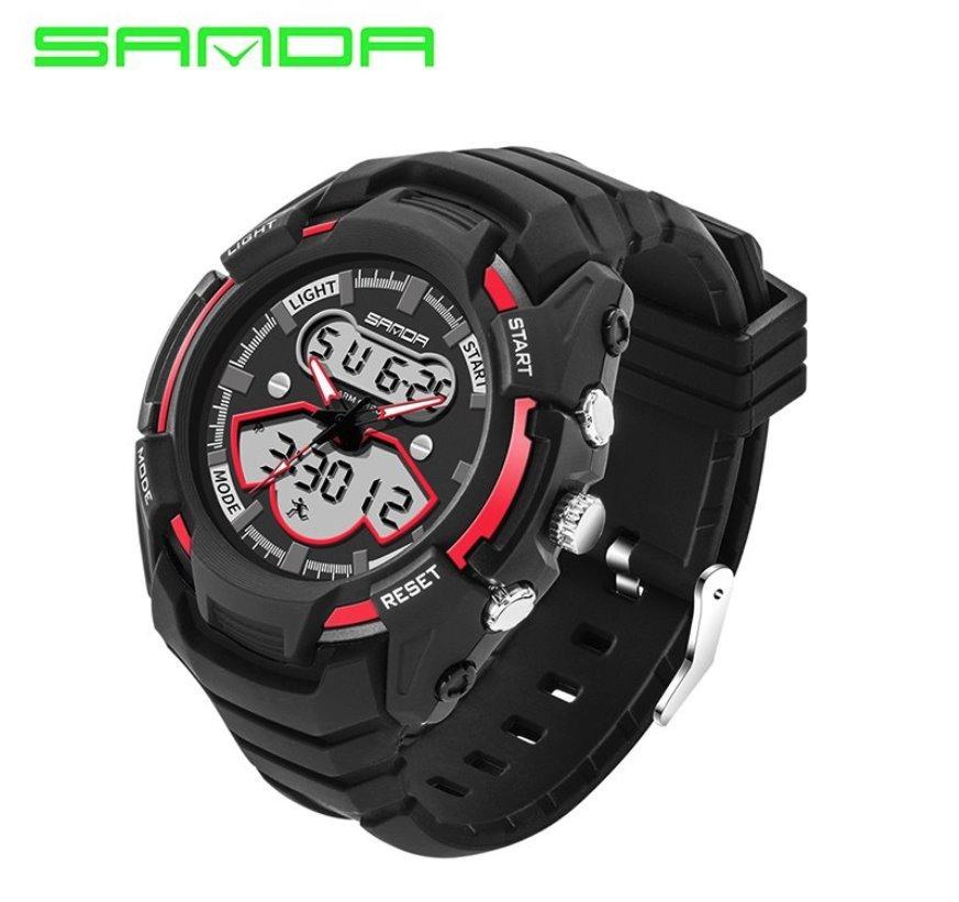 5f663aa7b48 relógio de pulso masculino preto com vermelho borracha novo. Carregando zoom .