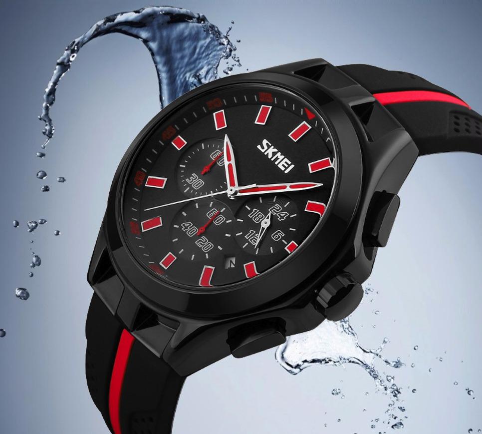 24a13483bc7 relógio de pulso masculino preto vermelho borracha aço inox. Carregando zoom .