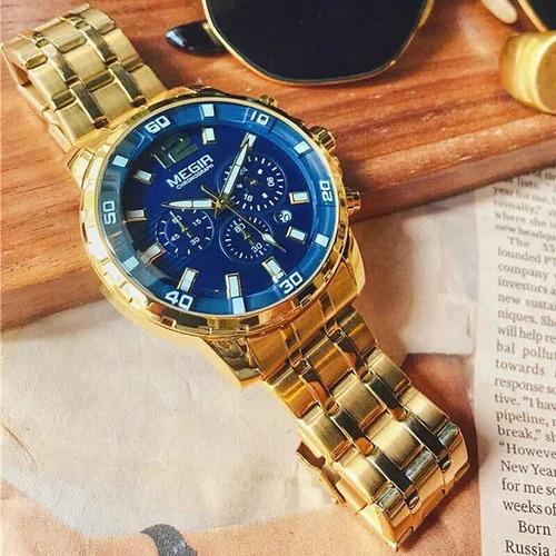 relogio de pulso masculino pulseira aço dourado cronógrafo
