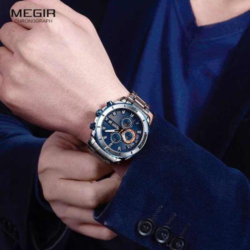 relogio de pulso masculino pulseira de aço visor azul