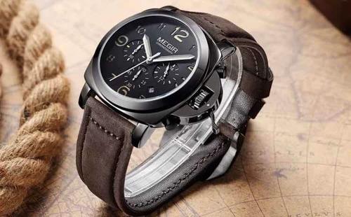 relogio de pulso masculino pulseira de couro luxo
