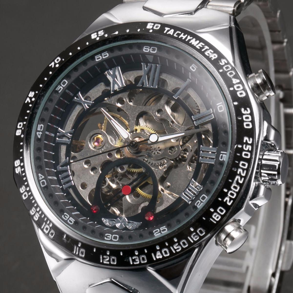 bd139548011 relógio de pulso masculino transparente automático moderno. Carregando zoom.