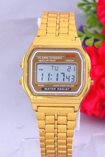 8ae45da7629 Relógio De Pulso Masculino Vintage Digital Casio Wr Dourado - R  82 ...