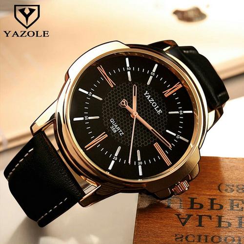 relógio de pulso masculino yazole quartz pulseira de couro