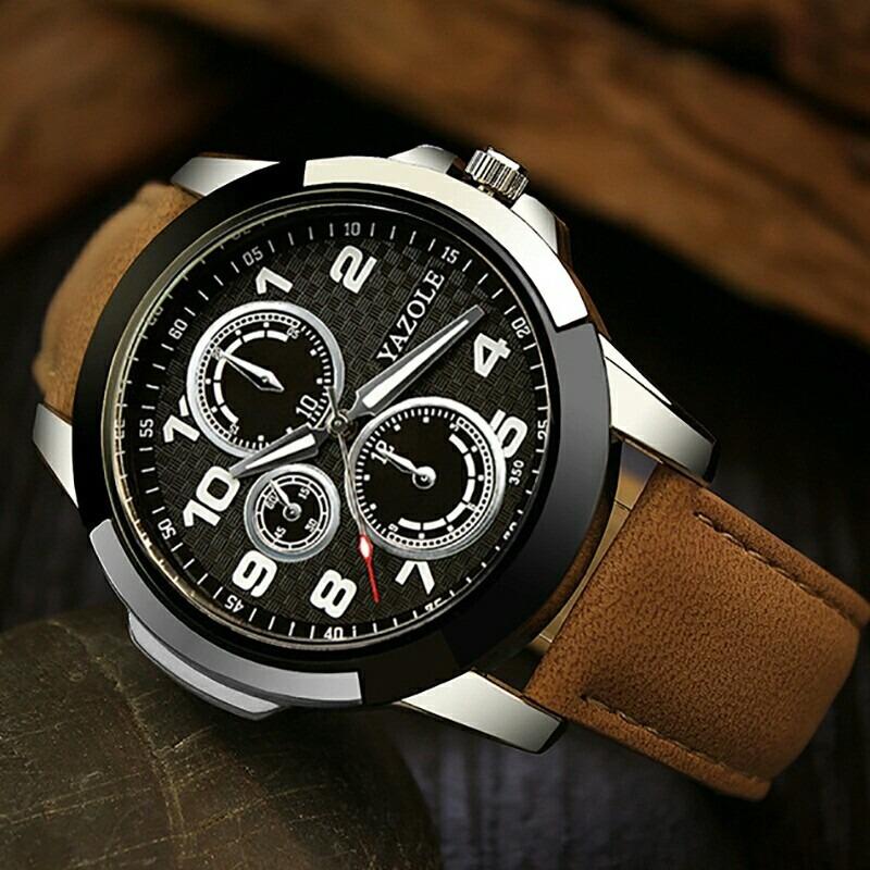 1429195c96e relógio de pulso masculino yazole social pulseira de couro. Carregando zoom.
