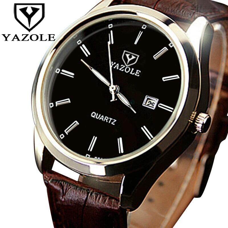 0e529b3bb6e relógio de pulso masculino yazole social pulseira de couro. Carregando zoom.