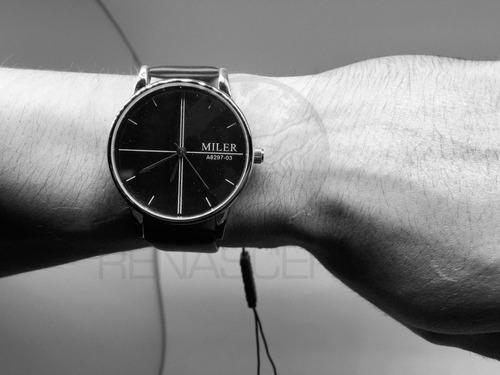 relógio de pulso miler masculino clássico a8297-03 esportivo