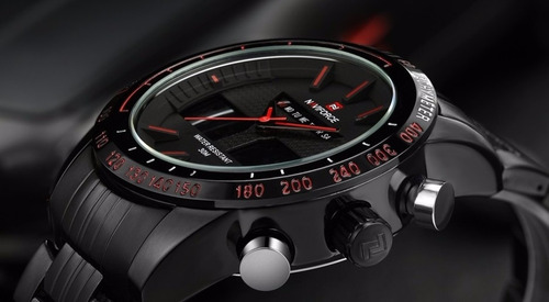 relógio de pulso naviforce nf9024m preto e laranja