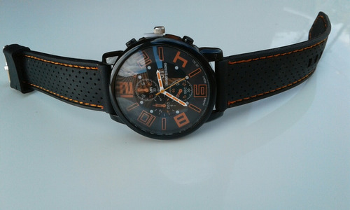 relógio de pulso números laranjados pulseira de silicone