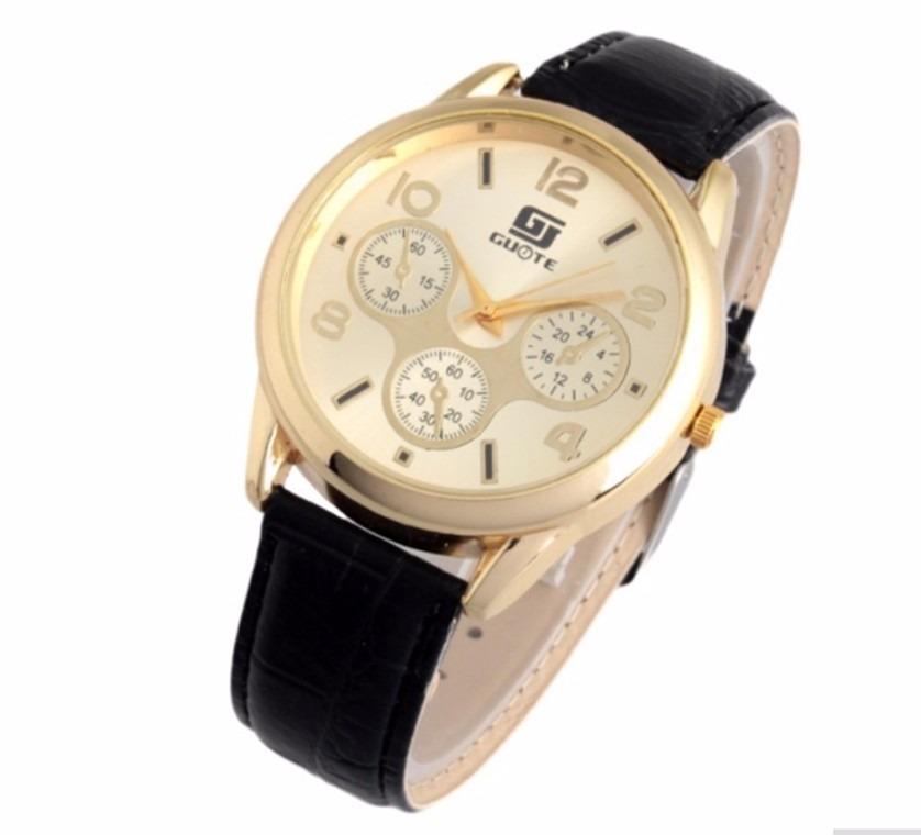 88e42f17297 relógio de pulso para homem dourado pulseira de couro preto. Carregando zoom .