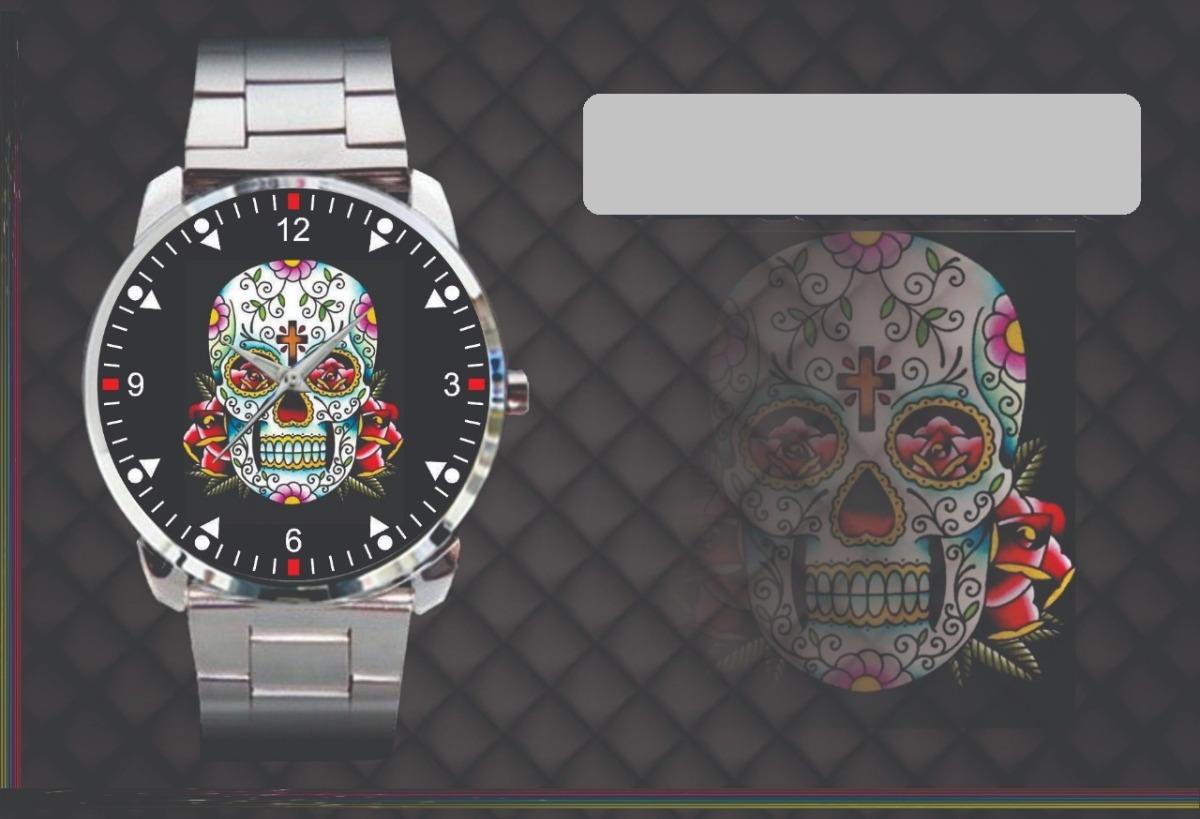 Relógio De Pulso Personalizado Desenho Caveira Mexicana Top