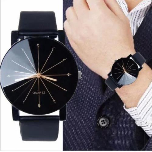 relógio de pulso preto delicado luxo pulseira couro feminino