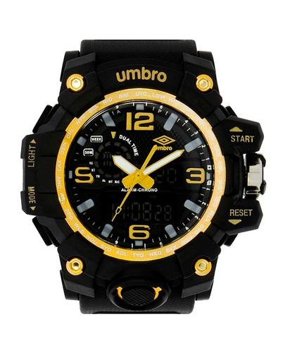 relógio de pulso preto e amarelo - umb-010-2 - umbro