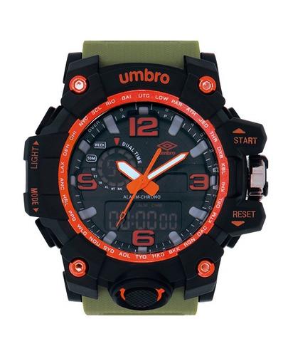 relógio de pulso preto e laranja - umbro umb-010-5