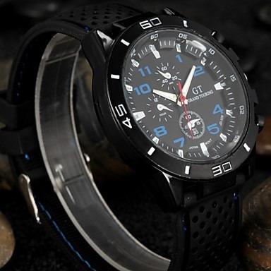 relógio de pulso quartz silicone banda preta