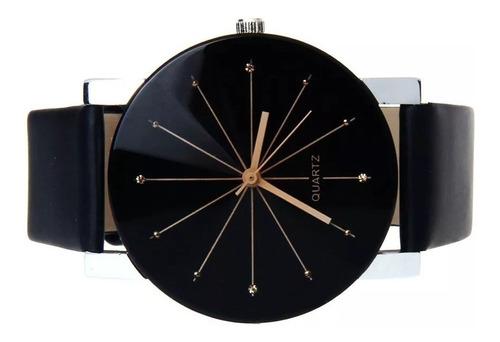 relógio de pulso quartzo analógico pulseira couro feminino