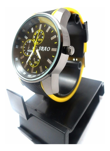 relógio de pulso sbao tachy meter preto e amarelo