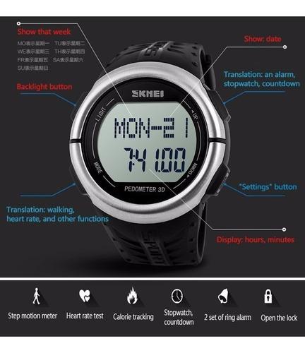 relógio de pulso skmei impermeável pedômetro