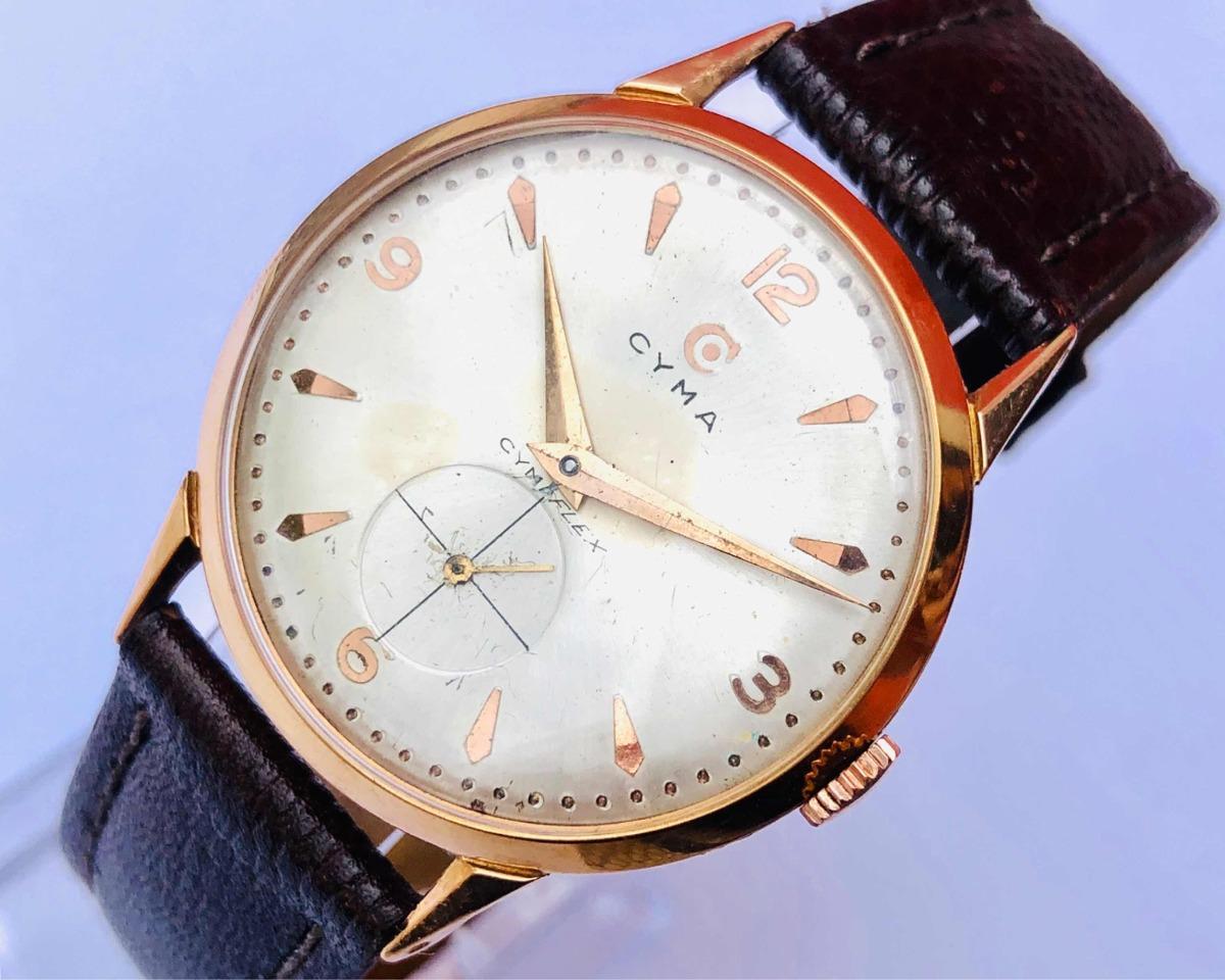 7bec45b1172 relógio de pulso suíço cyma cymaflex cal 458 ouro 18k 0750. Carregando zoom.