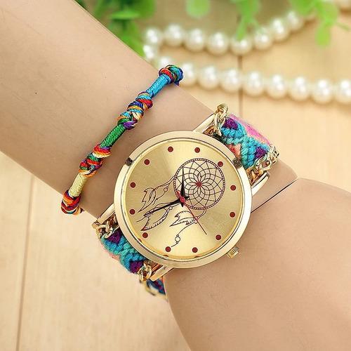 relógio de pulso trançado feminino