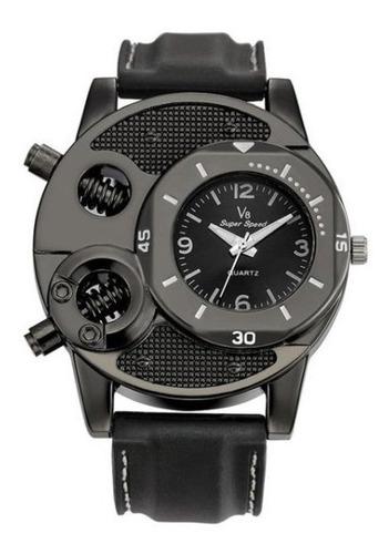 relógio de pulso v8 cool parafusos mostrador redondo sports