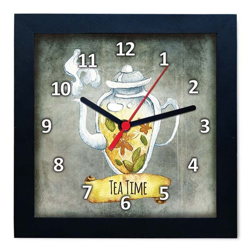 relógio decorativo caixa alta tema chá - qw014