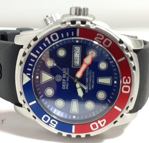 relógio deep blue diver pro tac automatico, azul,pepsi  12x