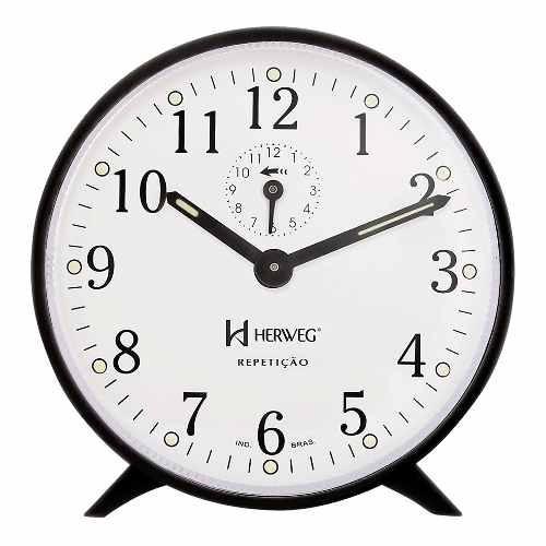 relógio despertador antigo a cordas preto herweg 2320