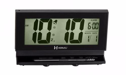 relógio despertador digital calendário alarme herweg 2946 p