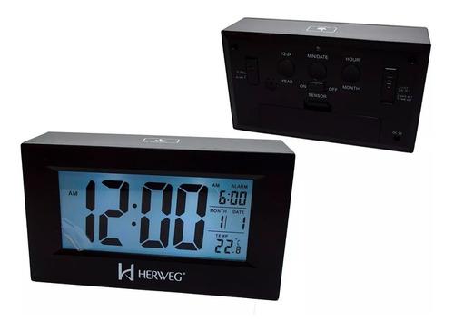 relógio despertador digital luz noturna preto herweg 2972