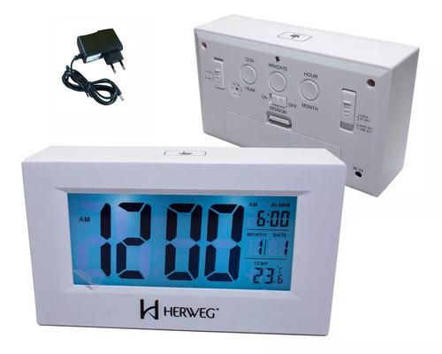 relógio despertador digital pilha + fonte branco herweg 2972