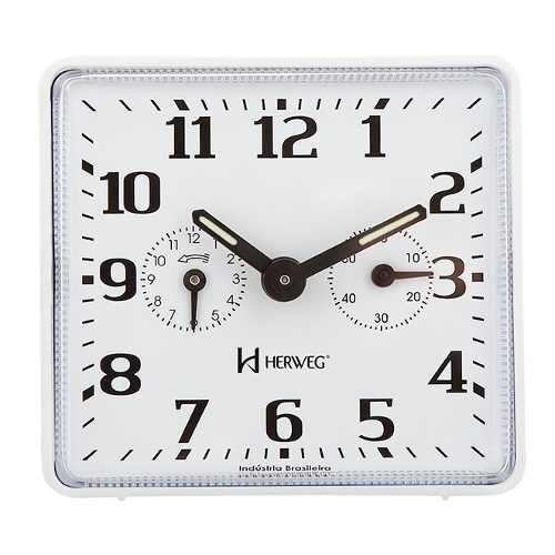 relógio despertador mecânico branco a cordas herweg 2245