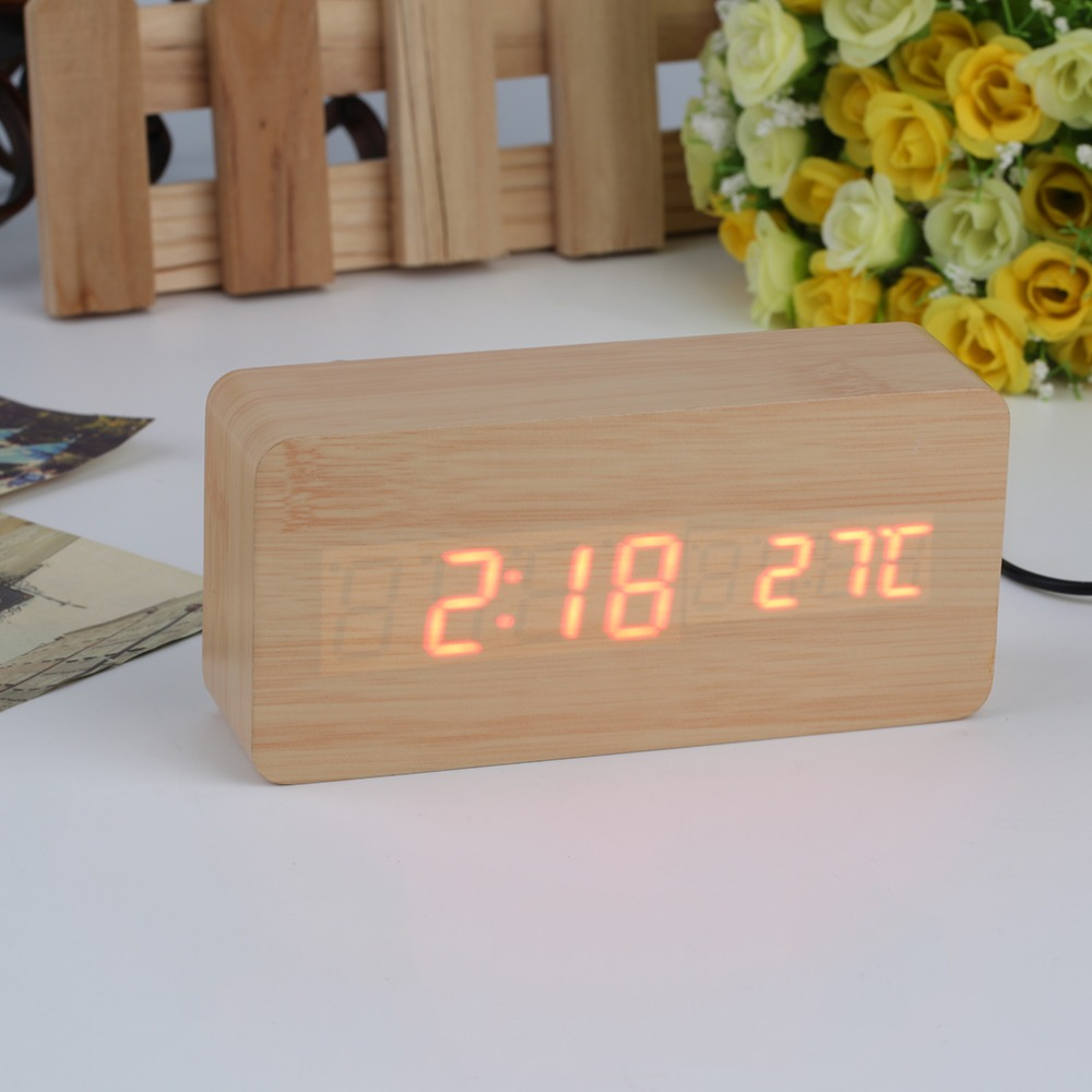 7d146b08c74 relógio despertador mesa digital madeira com sound control. Carregando zoom.