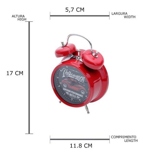 relogio despertador metal fusca vintage  11.8x5.7x17cm