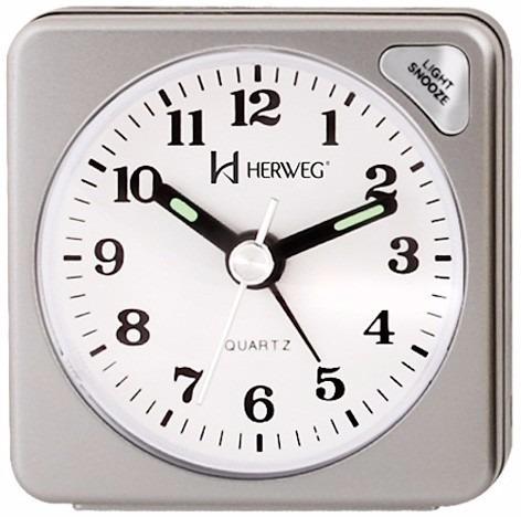 794a02a35cb Relógio Despertador Quartz Clássico Herweg 2510 070 Prata - R  49