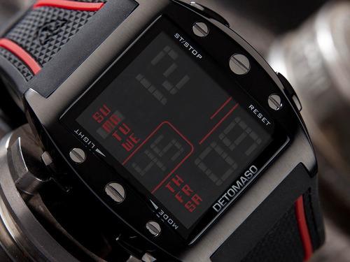 relógio detomaso marco black rubber