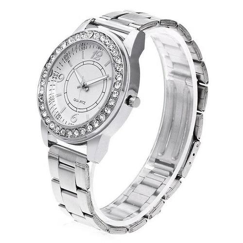 relógio diamatens steel band quartzo