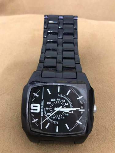 relógio diesel dz 1549 pulseira preta de plástico original