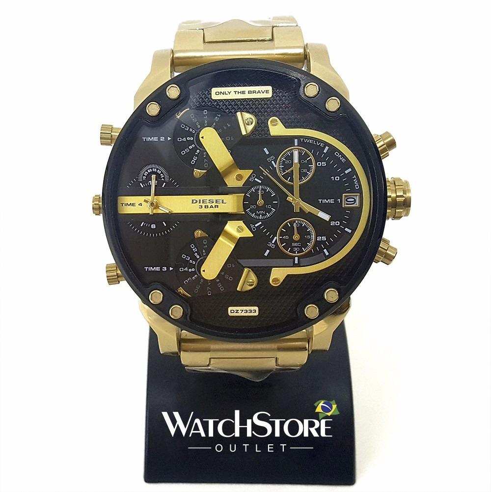 546624a870b Relógio Diesel Dz7333 Dourado + Caixa E Manual Originais - R  569