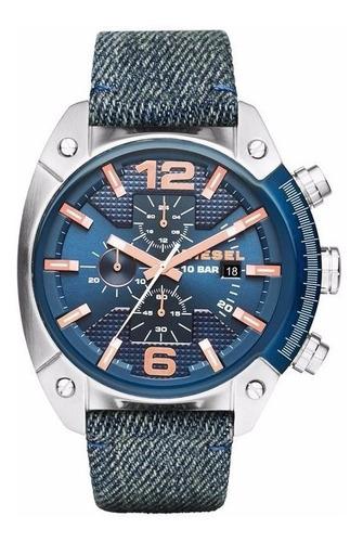 relógio diesel masculino dz4374/0an azul aço jeans
