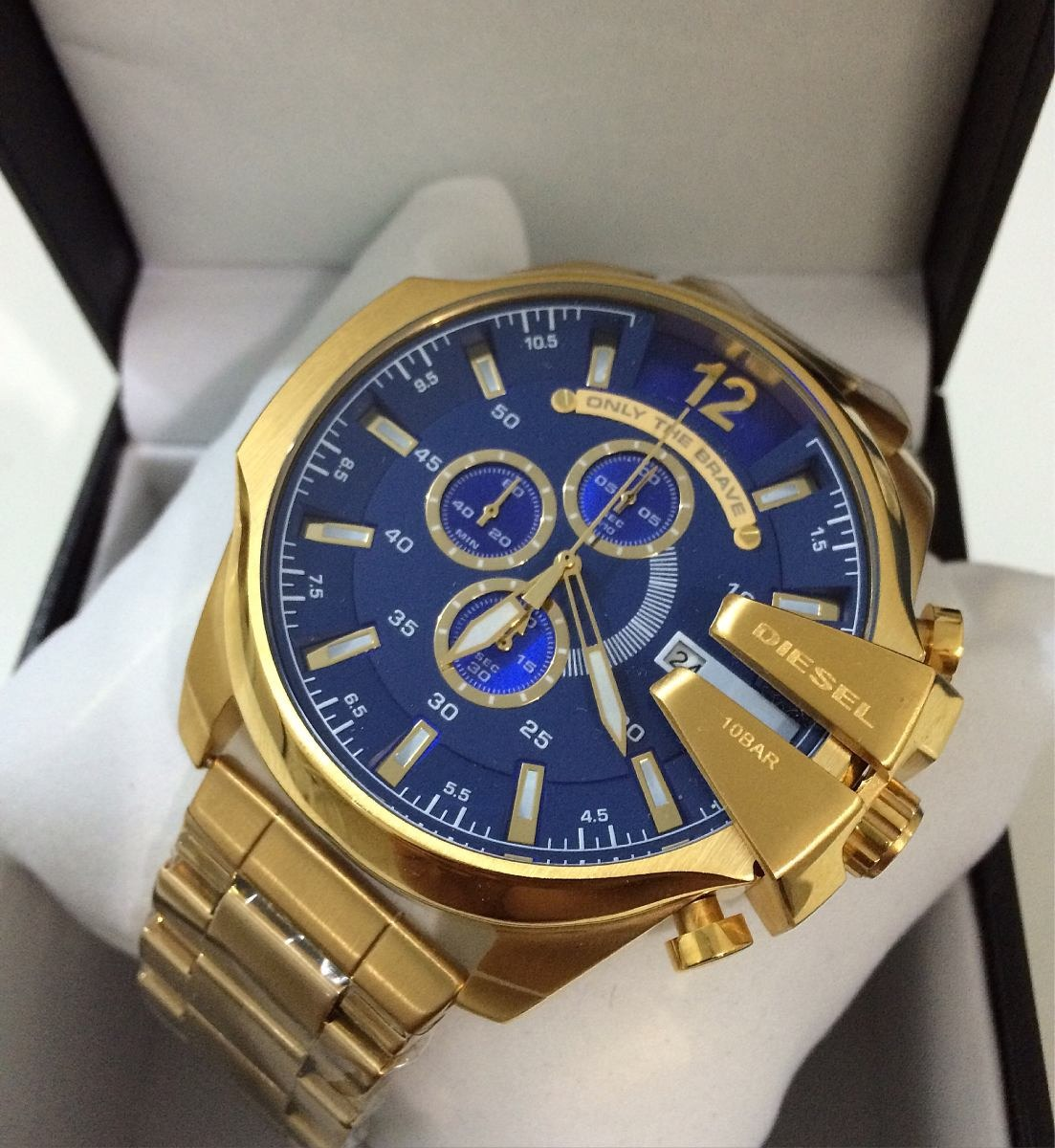08da851a942 relógio diesel masculino mega chief 10bar dourado e azul 12x. Carregando  zoom.