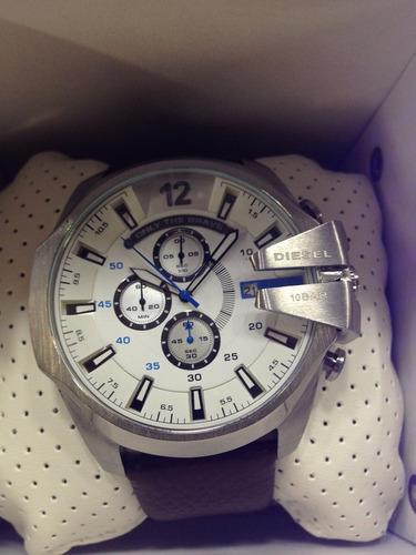 relógio diesel original prata branco couro top + envio gráti