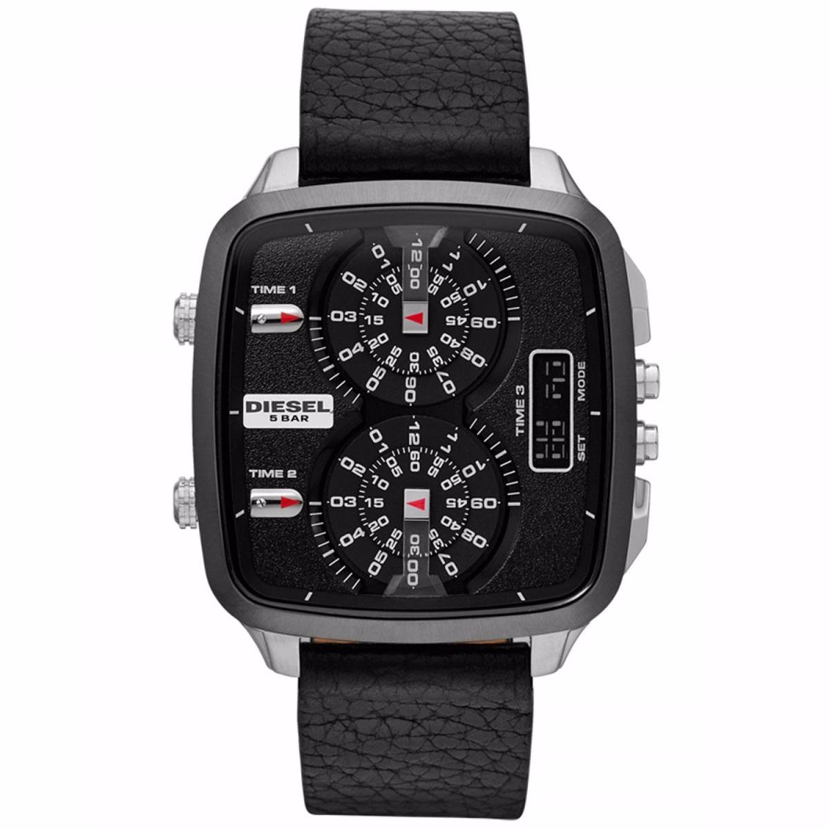 3733917431a Relógio Diesel Quadrado Pulseira couro 3 Máquinas Dz7302 0pn - R ...