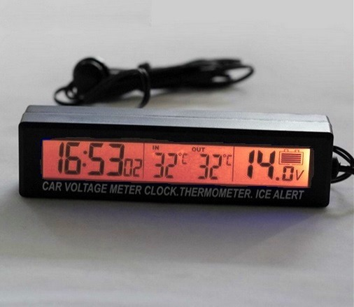 da7a0e52408 Relógio Digital 3x1 Automotivo Termômetro Tensão Real 12 24v - R  94 ...