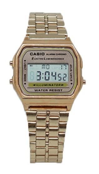 ce24a25ad66 Relógio Digital Aço Casio Ouro - R  65